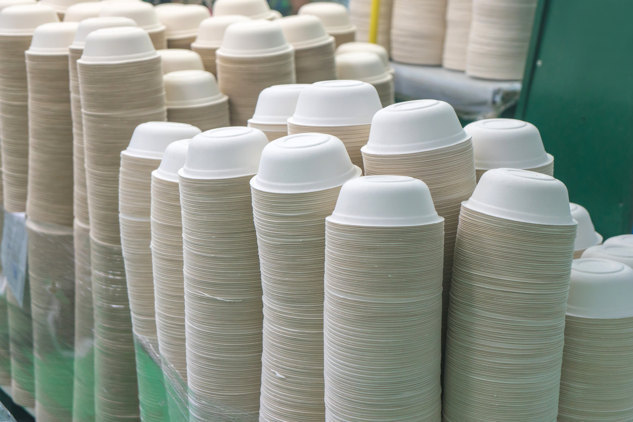 A new study finds that molded compostable dishware, like the bowls pictured here, are actually laced with toxic PFAs, also known as forever chemicals.  Image Source .