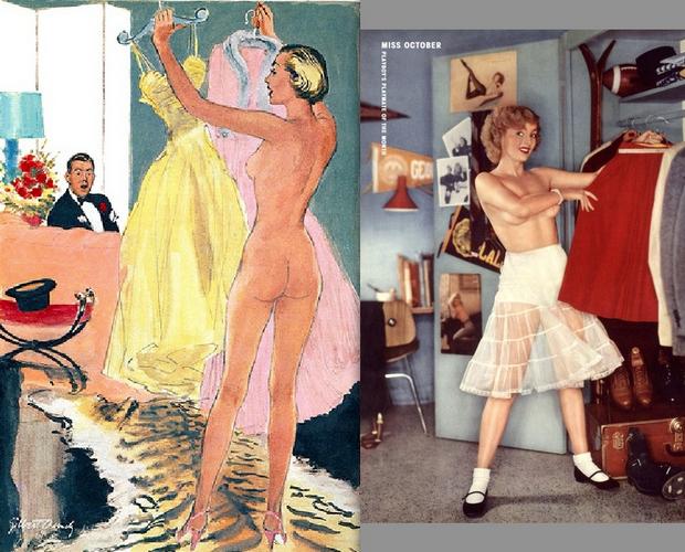 1954 Esquire cartoon; 1955 Playboy centerfold