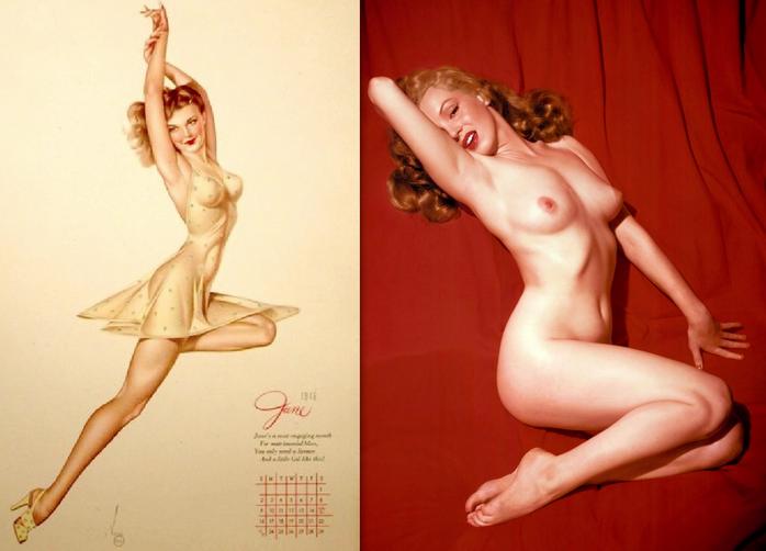 1946 Varga pin-up in Esquire calendar; 1953 Monroe centerfold