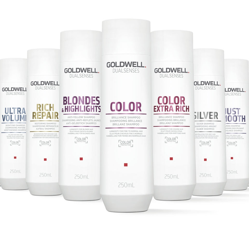 GOLDWELL DUALSENSES - Solutions for instantly visible and touchable results for all hair types and concerns. Built-in color protection in EVERY product! Improved technologies - shampoos as gentle as pure water.