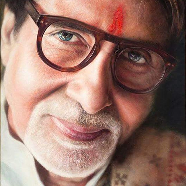 #throwbackthursday what an adventure travelling through #india and meeting and #painting the great man #amitabhbachchan Over 190 films bringing so much joy to so many.  #bollywood #film #actor #portrait #oilpainting #artfido #art