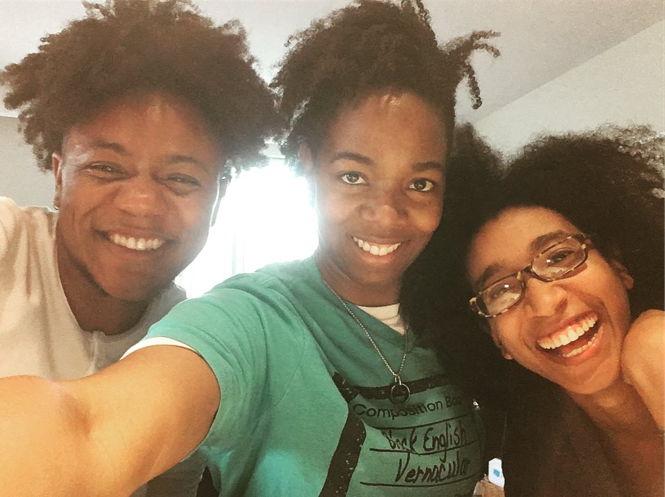 Such a joy to have  Joie Lou Shakur  here this week apprenticing with  Julia Sangodare Roxanne Wallace  and engaging the most important technology of  #InheritLight  — the (queer black) circle. Powerful spirit, divine soul. #blackradiance  (alexispauline)
