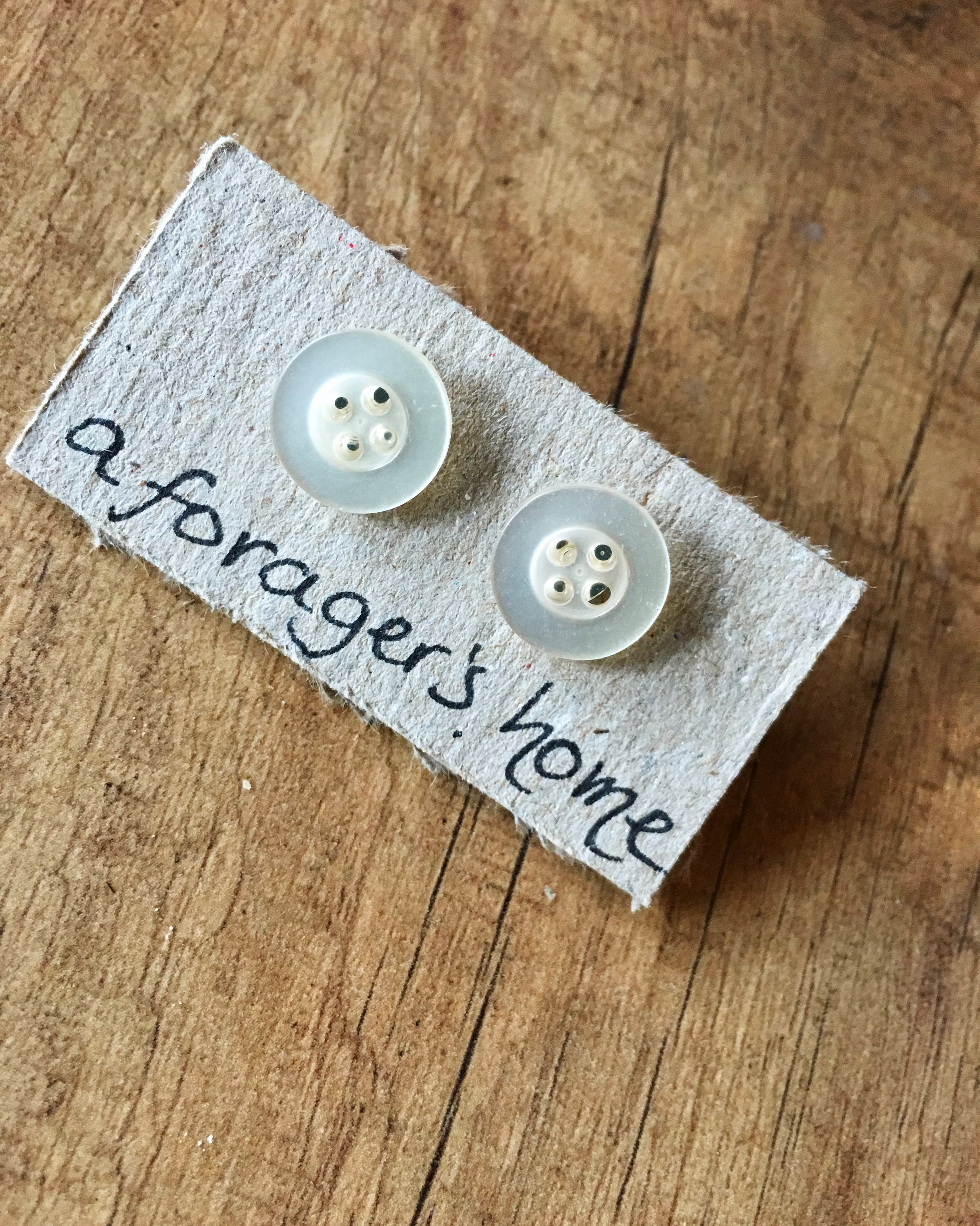 Pearly White Button Earrings.