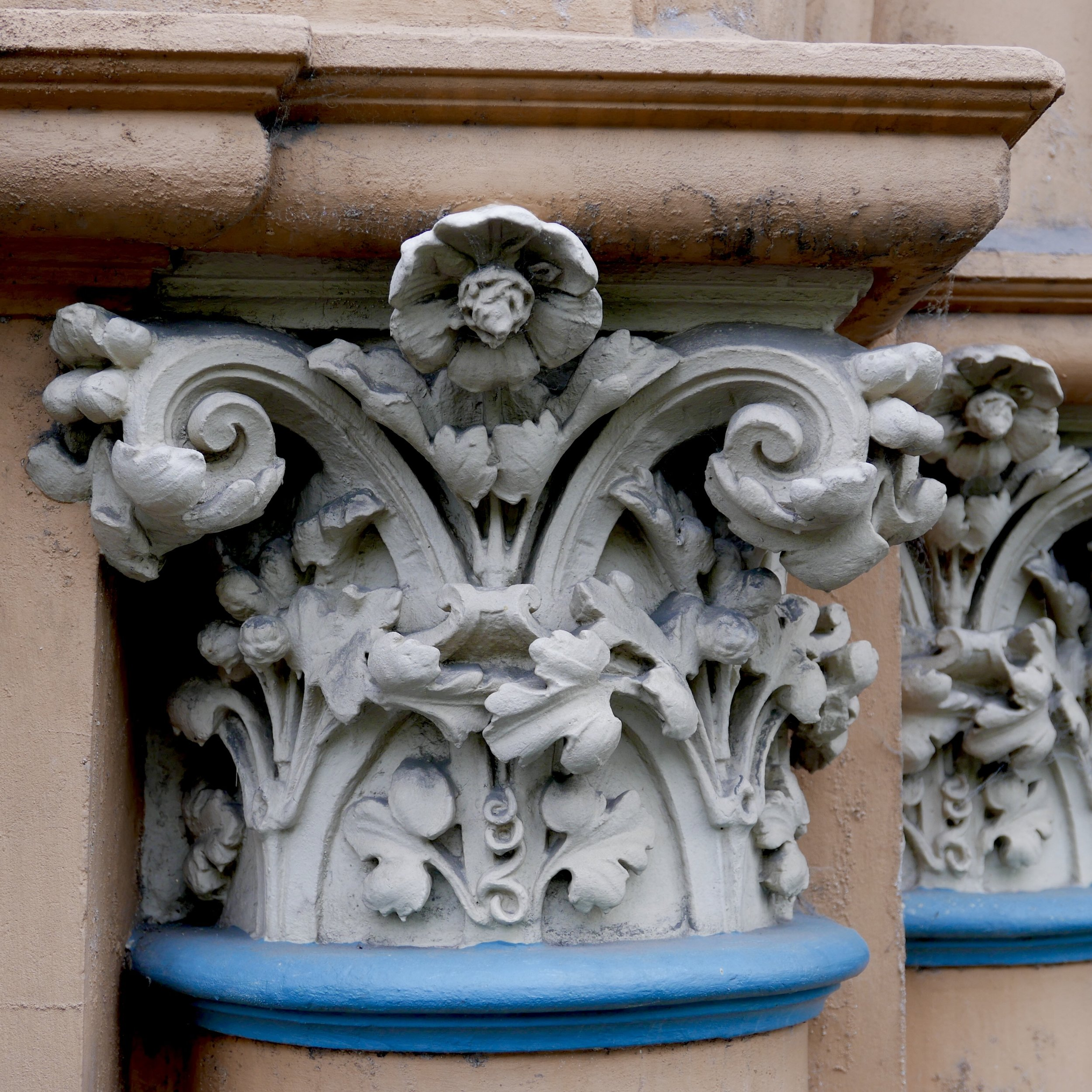 Decorative architectural detail on the exterior of the Victorian Artists Society building