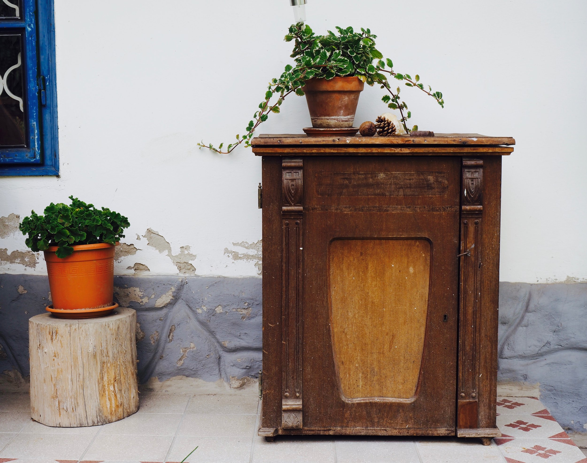 An ivy and a geranium look right at home on the log and the well-loved timber cabinet.