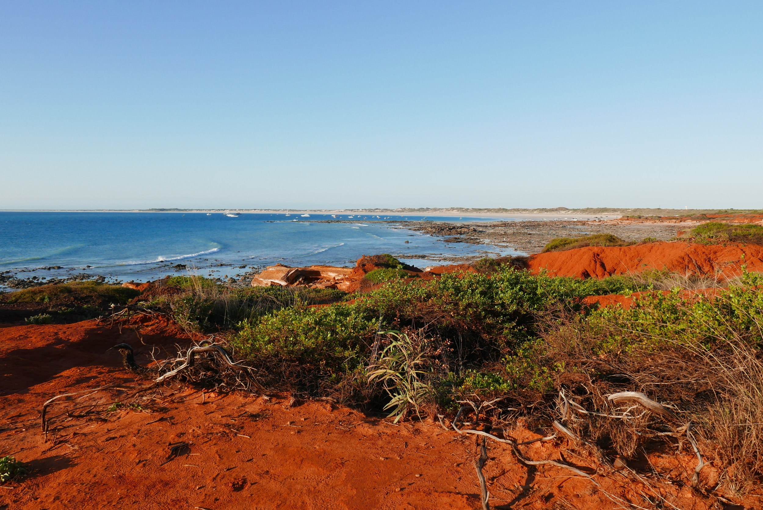 The red pindan soil in all its glory. I took this shot at Gantheaume Point looking back towards Cable Beach and Broome. The red soil is even more striking as the sun begins to set.