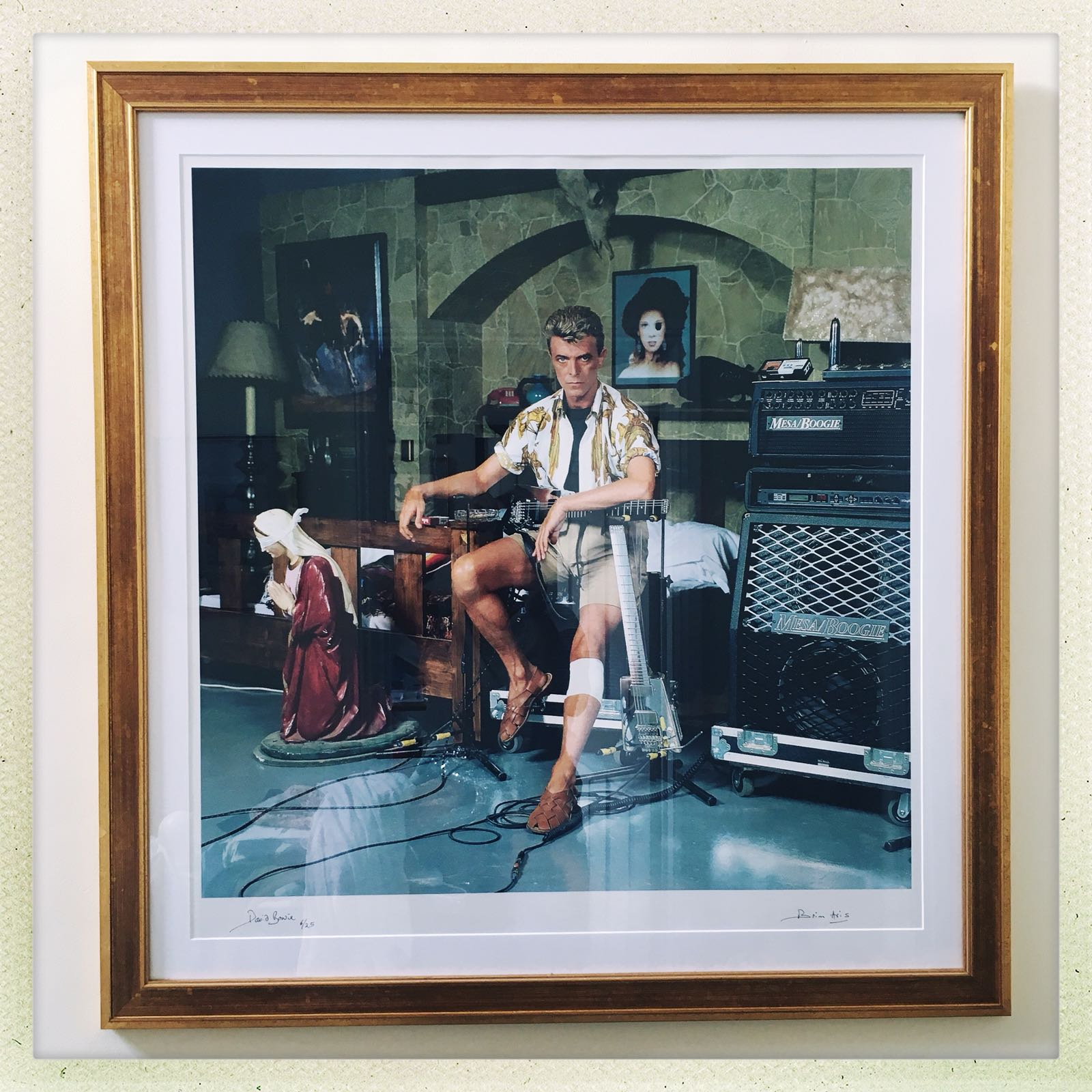 Limited edition lambda c-type framed print of David Bowie - 6 of 25 - photographed in 1991 - 30' x 30' C-Type Lambda high quality print, limited ed. 6 of 25Set in neutral mount with aged 'luxe' gold frame.Framed price excluding delivery: £1,450.00