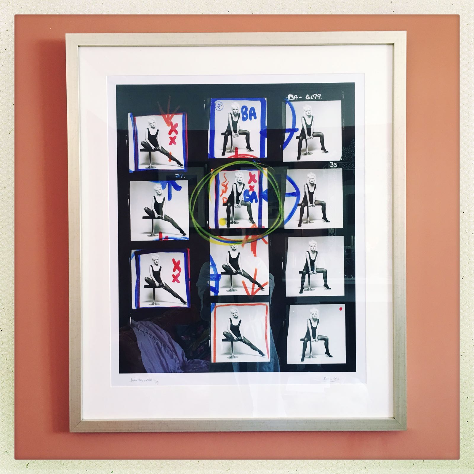 Debbie Harry proof sheet - limited edition 4 of 15 - 30' x 30' C-Type Lambda high quality print, limited ed. 4 of 15Set in neutral mount with 'brushed' look gold / silver frame.Framed price excluding delivery: £1,450.00