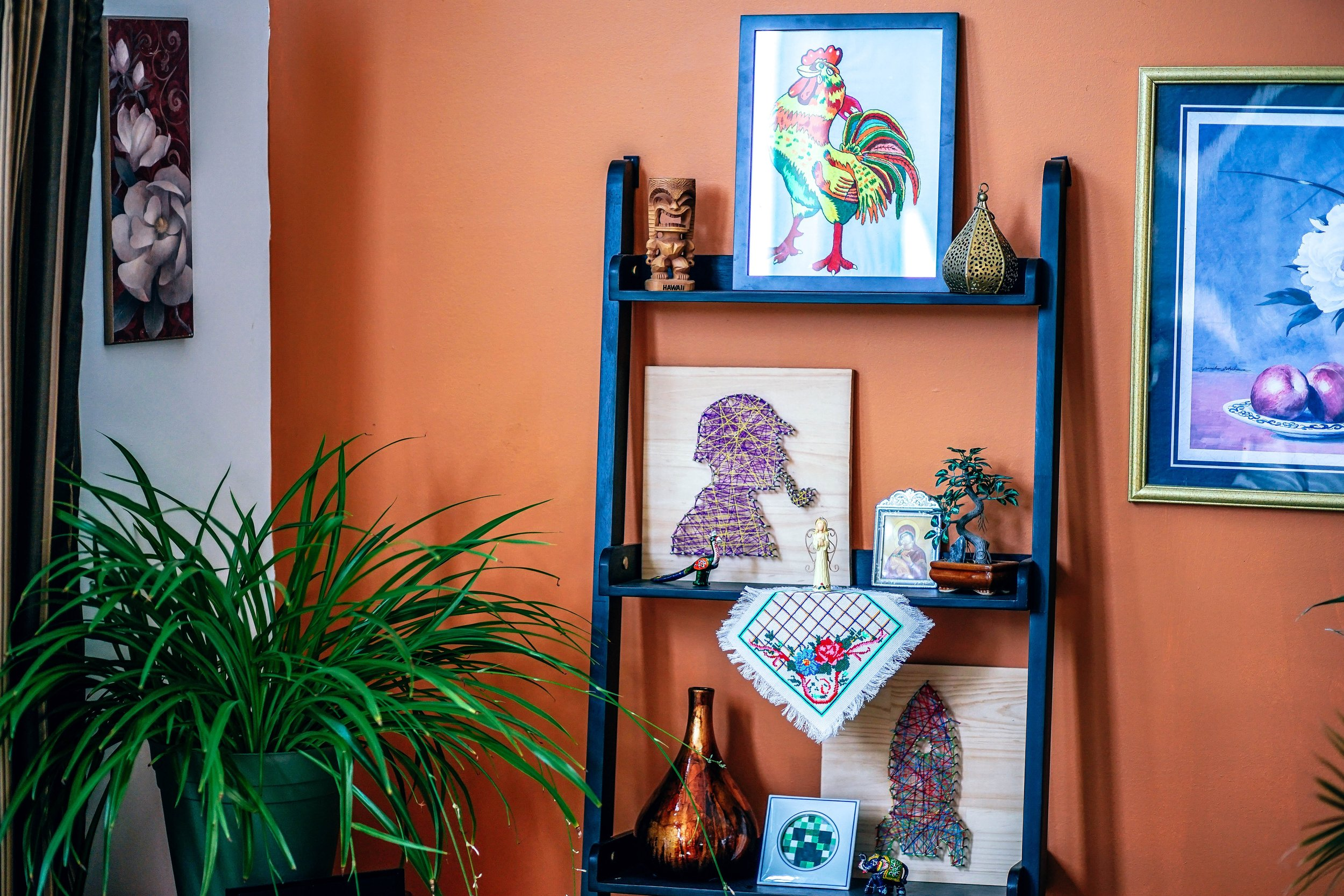 …try a gold frame on a neutral wall but then alternatively just see how it pops on a rich Tuscan red. -