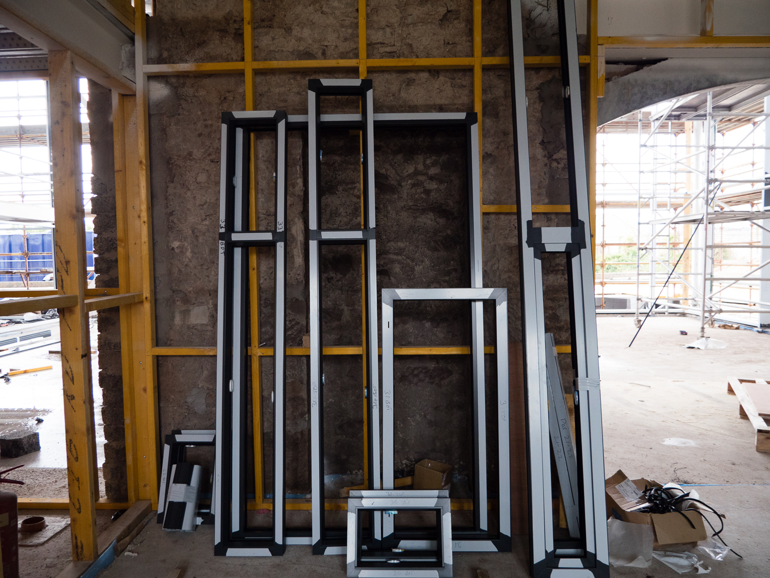 Window frames waiting to be installed