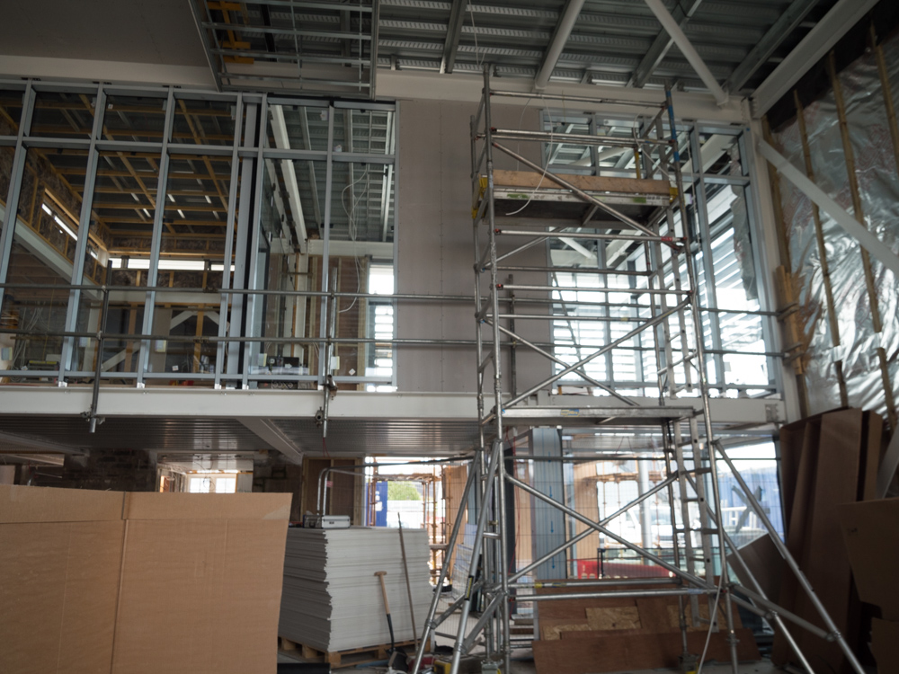 Main hall looking up to Fitness Suite & Cafe below