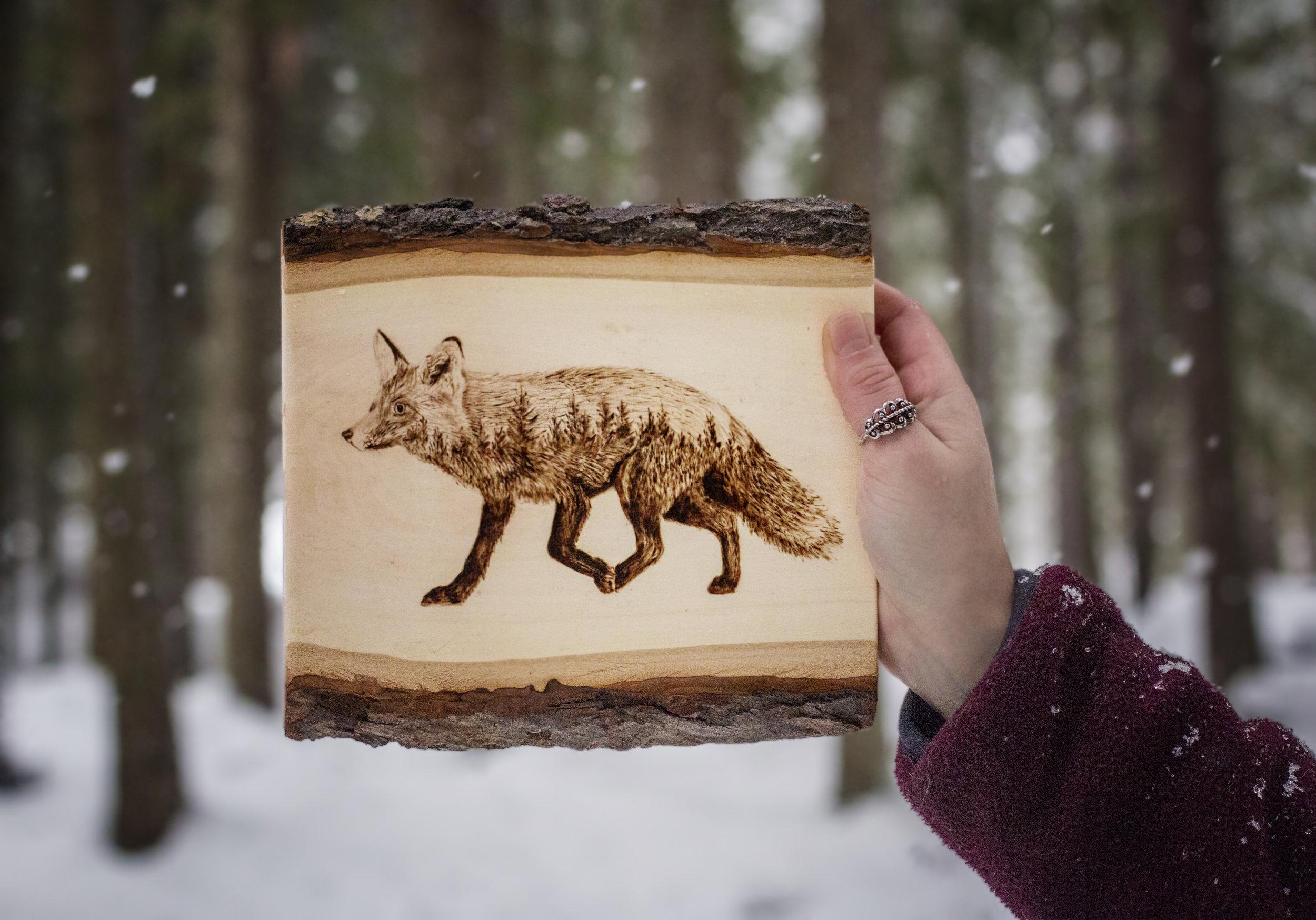 "Wandering Fox, live edge Basswood, 7"" x 6"", 2018."