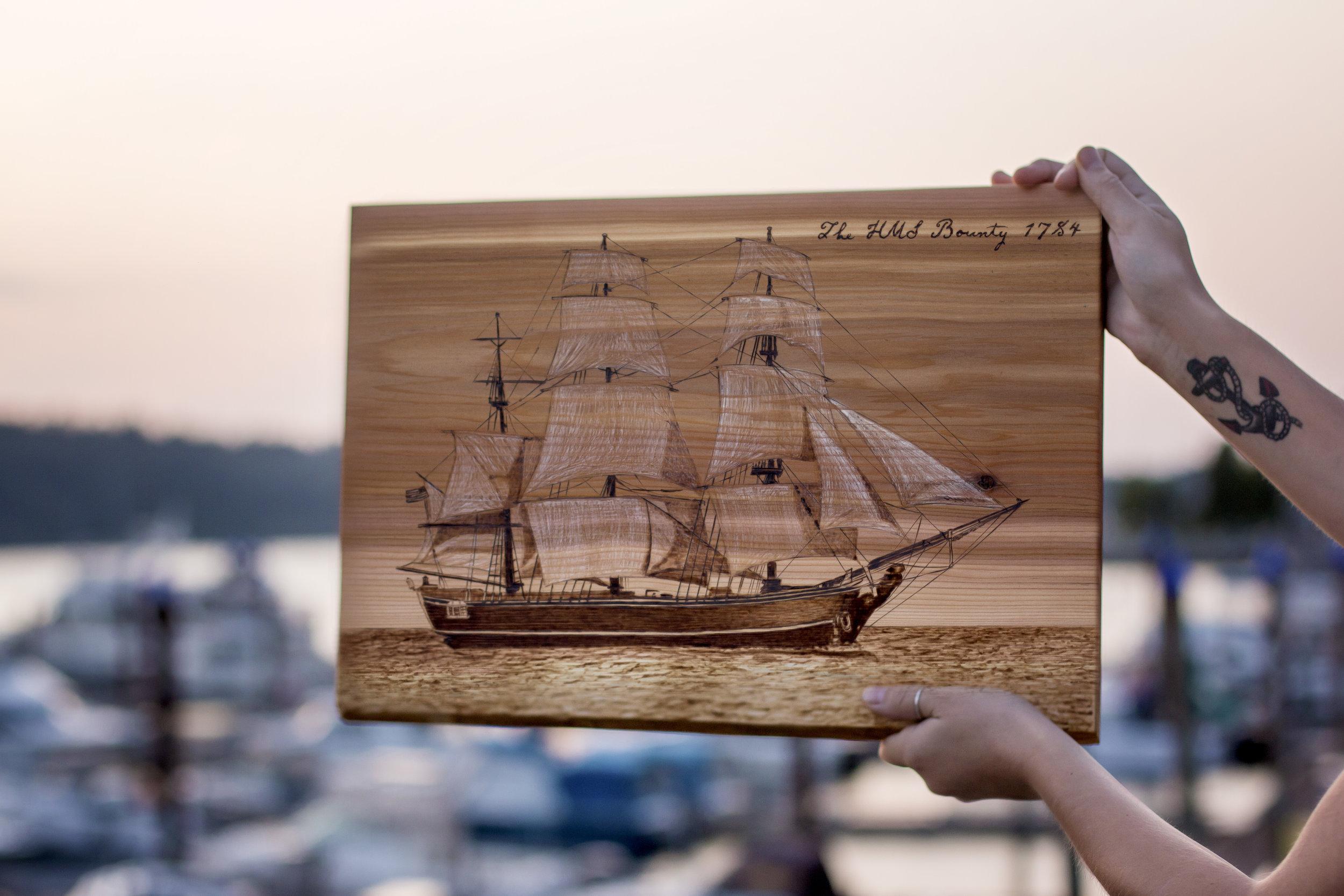 "HMS Bounty, Live Edge Cedar, 13"" x 20"", 2018."