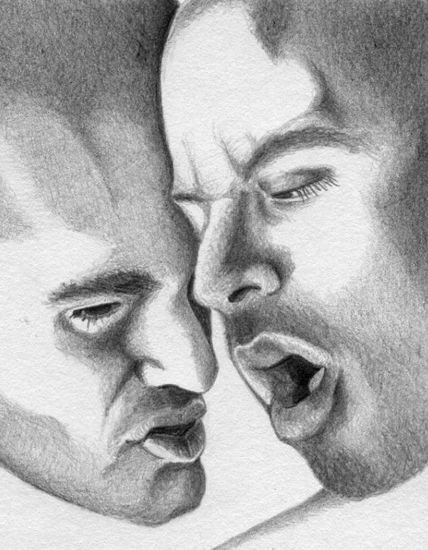 PASSING ON THE SPIRIT (2013) - Graphite on paper (partial view). Original available. To inquire, write to finncock@finncock.com or to buy a print, check out the FAA print store via the button on the page.