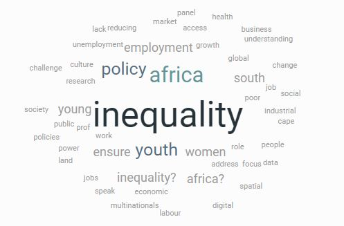 Wordcloud formed from the questions submitted by the audience