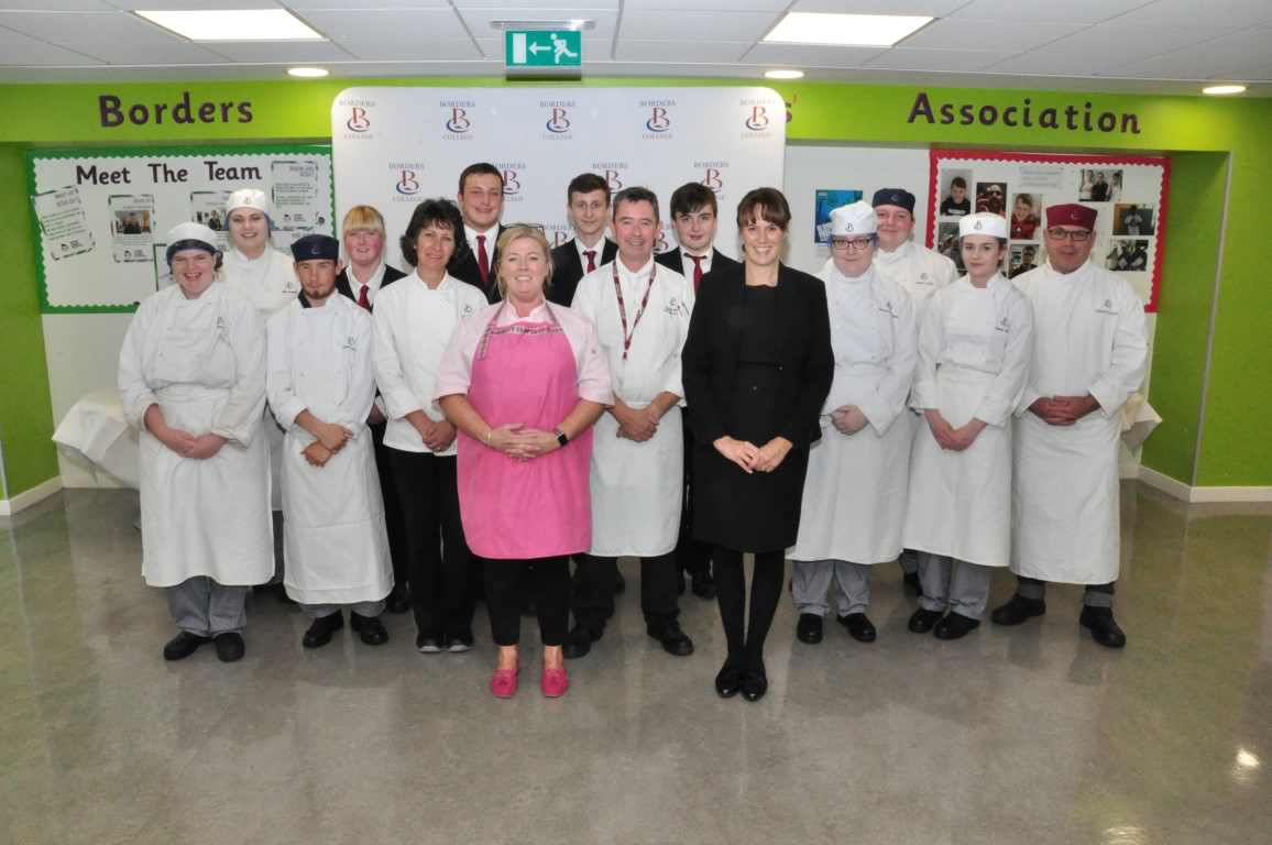 Guest chef Jacqueline O'Donnell is pictured with Borders College Catering and Hospitality students, and lecturing staff Gillian Petty, Robbie Bunton and Fiona Nichol
