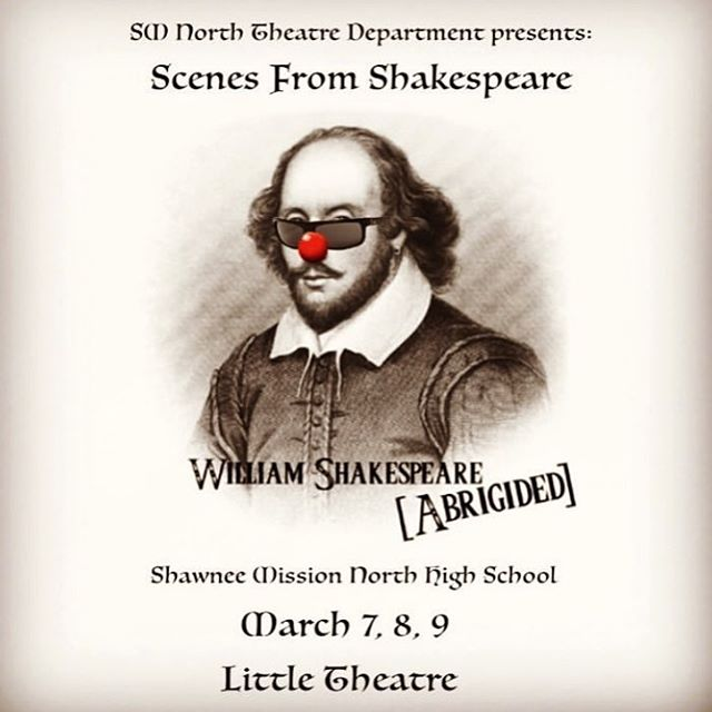 """Happy opening week to the cast and crew of """"Complete Works is William Shakespeare (Abridged)""""!!! The show starts at 7pm and tickets are $5!!! See you there!"""