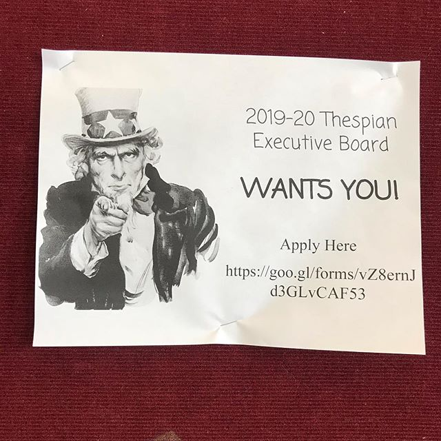 Applications are OPEN for the 2019-2020 Thespian Executive Board! This application is only open to current Sophomores and Juniors.
