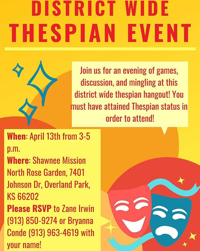 This is open to THESPIANS ONLY (new and old)!!! If you are a Thespian, we would love to see you at the SMSD District-wide hangout!