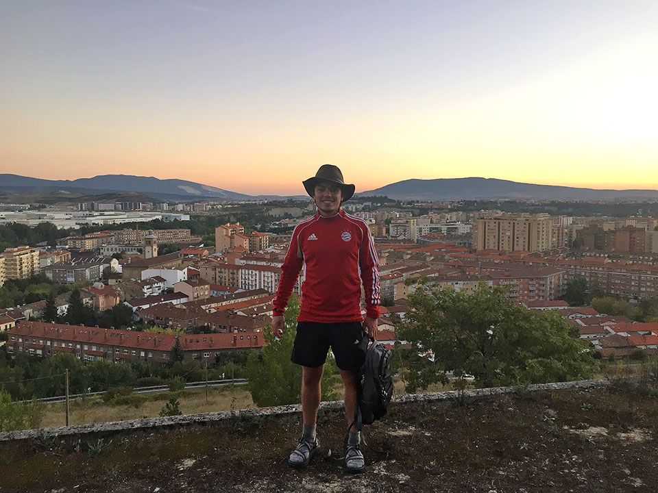 Villava, Navarre, Spain, September 2015 — After one of my hardest days walking, some guys in the hostel and I climbed up on the roof of an abandon building to take pictures of the sunset.