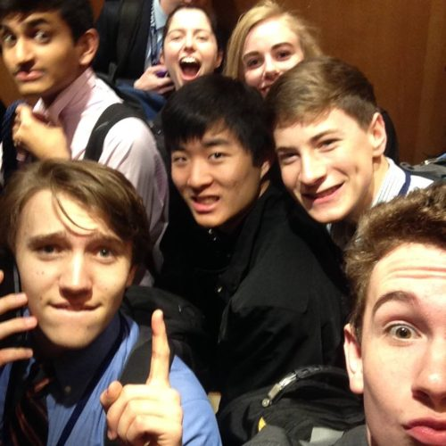 Jacob goofing off in the elevator with his 2015 Boston Catapult Incubator cohort