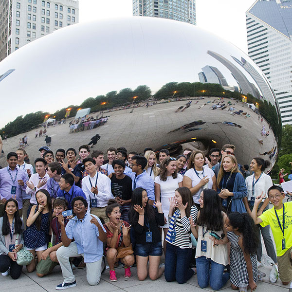"QØ Catapult Incubator Cohort 10 in front of the ""Bean"" in Millennium Park in downtown Chicago."