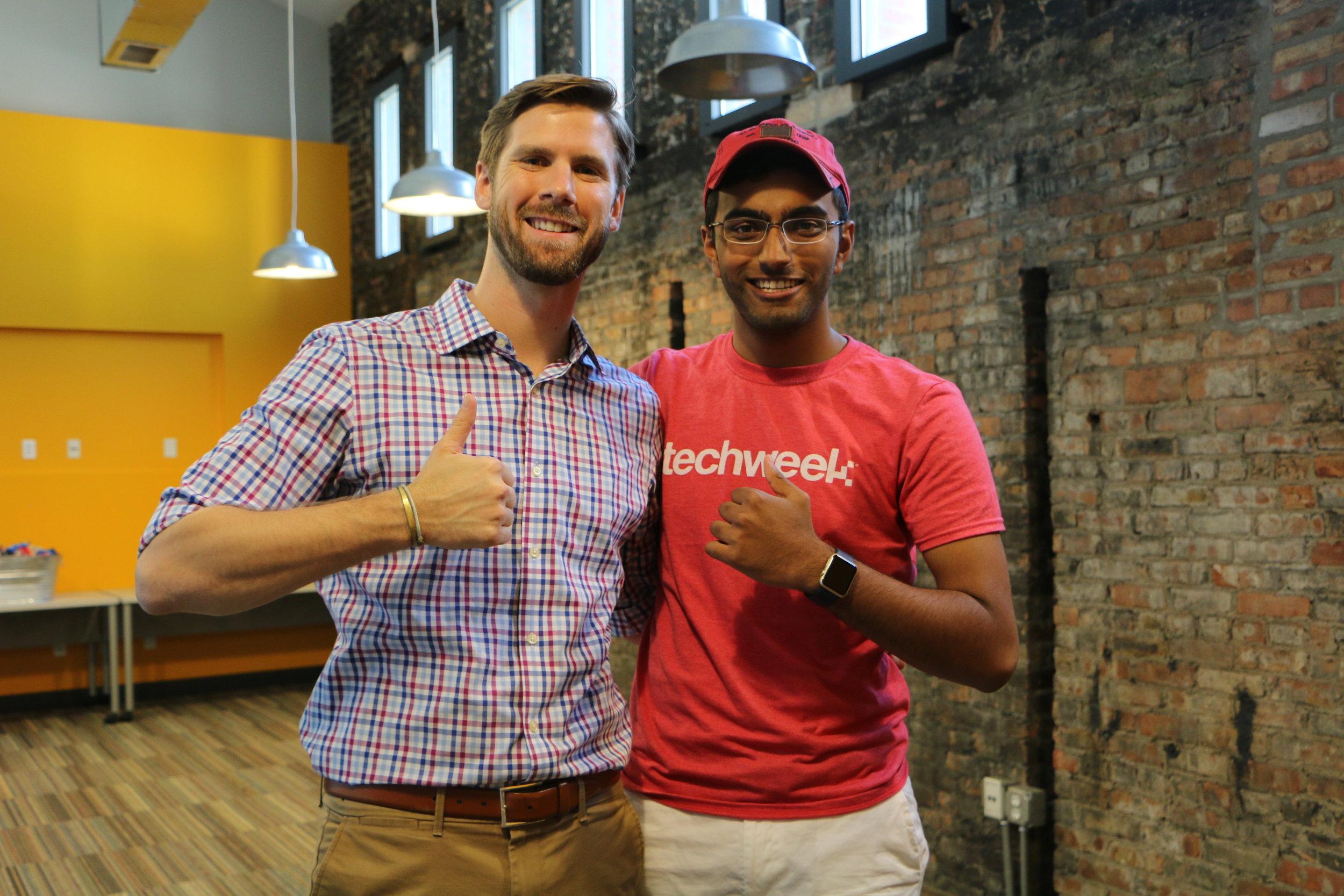 Josh with Quarter Zero Alumni - Bharat Pulgam who is now on 3rd startup attending TechStars Accelerator .JPG