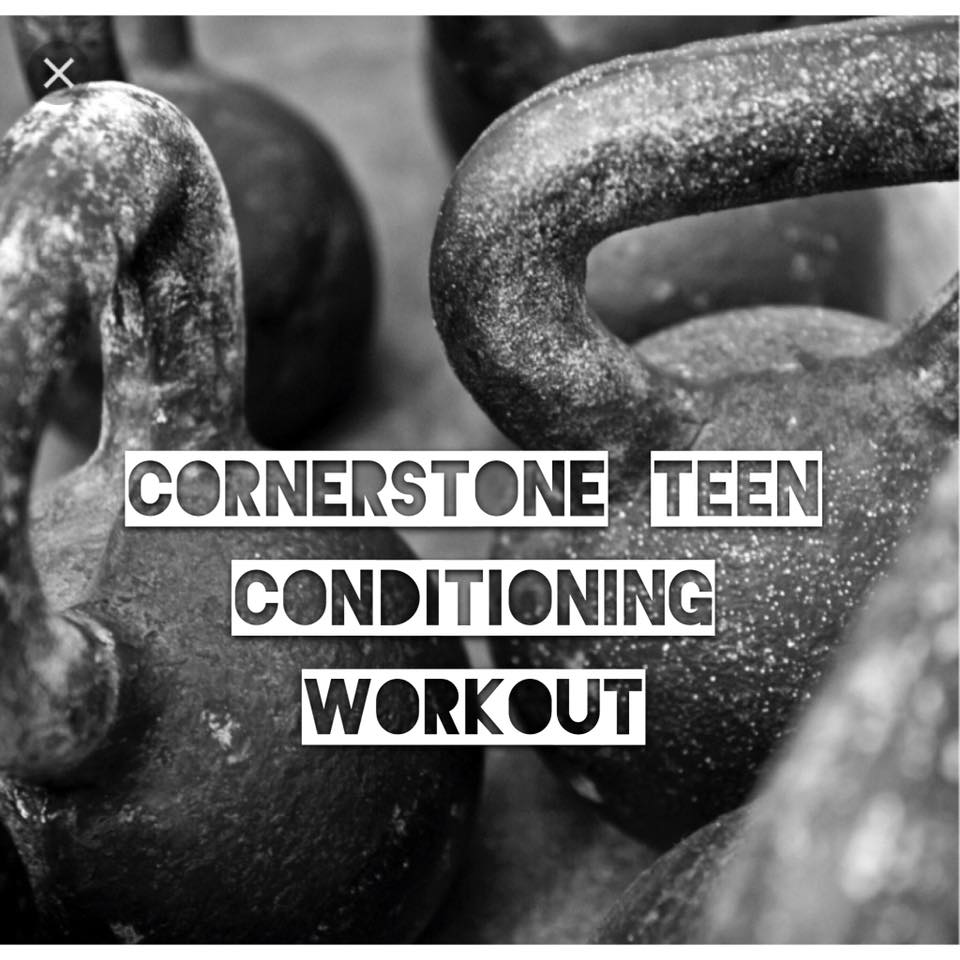 Hey teen athletes and parents! Looking for a great way to keep your teenager stronger, faster, and healthier this summer? Cornerstone Fitness will be running a Teen summer conditioning program from June 1st - August 1st.  Join us on Sunday, April 15th for a FREE workout preview. Teens 13-18 (High School age) are welcome and do not require a membership to participate in the workout or summer program.  Workouts will focus on strength through the use of weight training and body weight exercises, cardio through the use of rowing, running, jump roping, and varied length workouts as well as a focus on developing strong cores through gymnastic movements such as handstands, dips, pull ups, etc.  Invite your friends, teammates, or siblings out for a FUN yet challenging day to see what Cornerstone Fitness can do for you and your athletic performance!