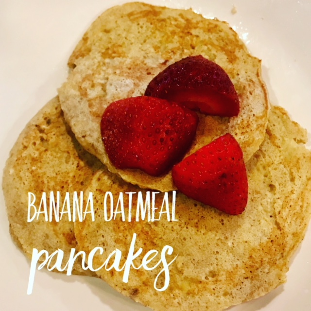 Recipe:  1 ripe banana  1/3 cup oats  2 eggs  1/4 tsp cinnamon  Mash bananas with a fork. Grind oats in blender. Mix together all ingredients. Heat coconut oil in skillet and cook as pancakes until both sides golden brown!  *you can also add a scoop of protein powder for some extra protein!