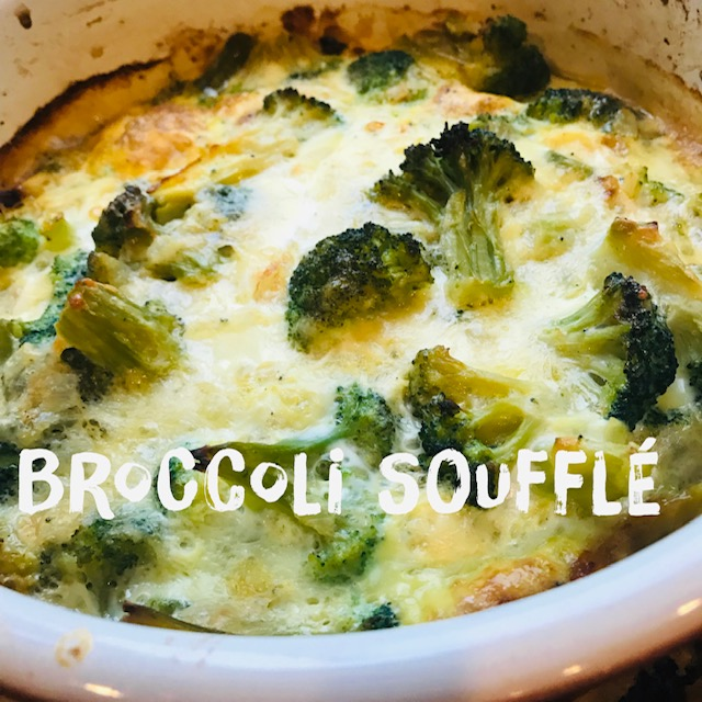Recipe:  2 lbs. chopped broccoli (I use 2 of the 4 bags in the Costco frozen pack)   1 onion chopped  2 tbsp. butter  2 tbsp. flour (I use GF rice flour)  1/2 cup water  4 oz. fresh shredded cheddar  4 eggs  1/2 cup egg whites  Salt/pepper  Directions:  Preheat oven to 375. Sauté onion in butter until soft. Mix flour and water and thicken. Melt in cheese. Lay broccoli in dish and mix cheese/onion mixture throughout. Beat eggs and whites together and pour over broccoli. Cover and bake for 30-45 minutes (depending on dish).  Macros:  P 13, F 10, C 9