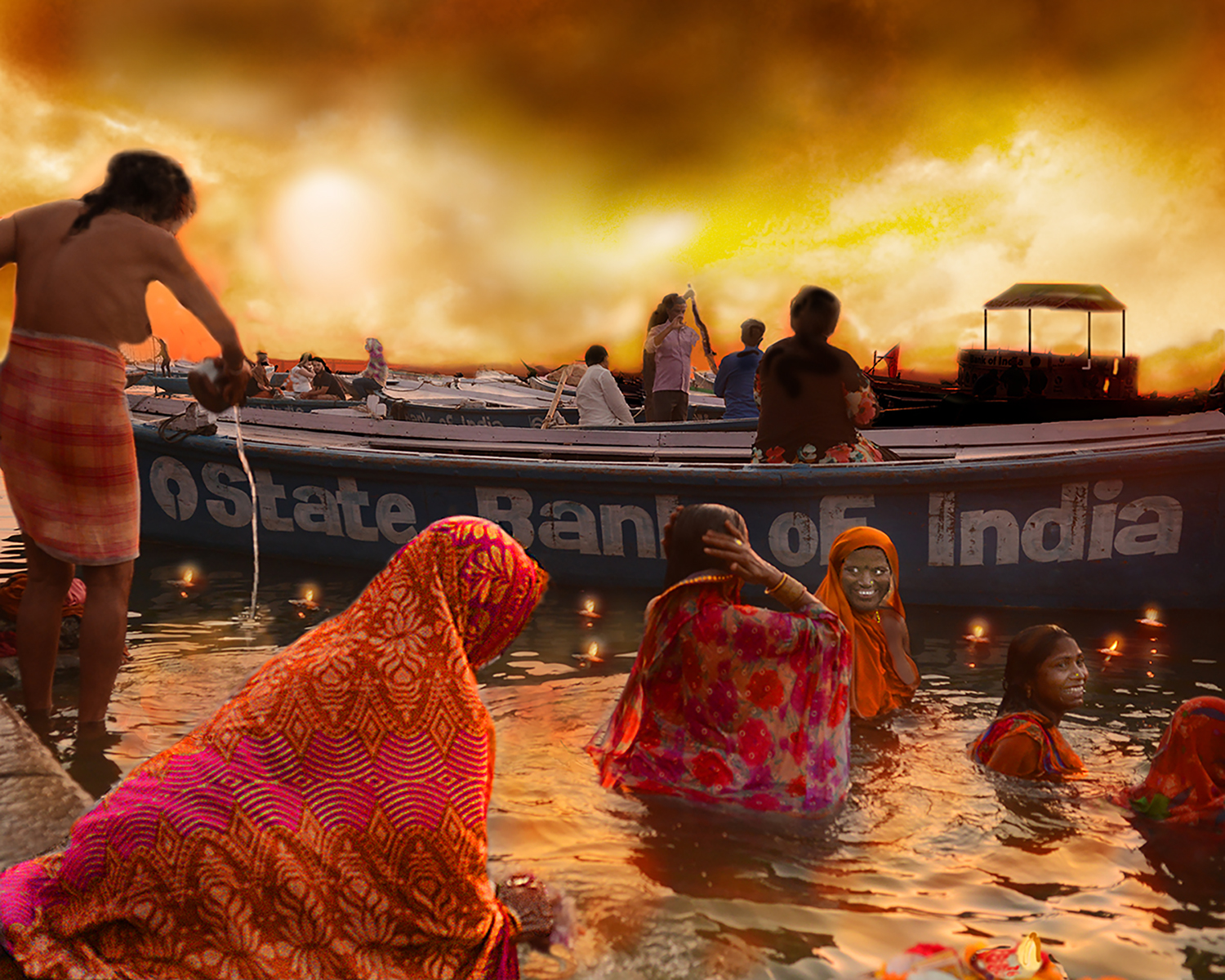 INDIAN WOMEN BATHING AT SUNSET