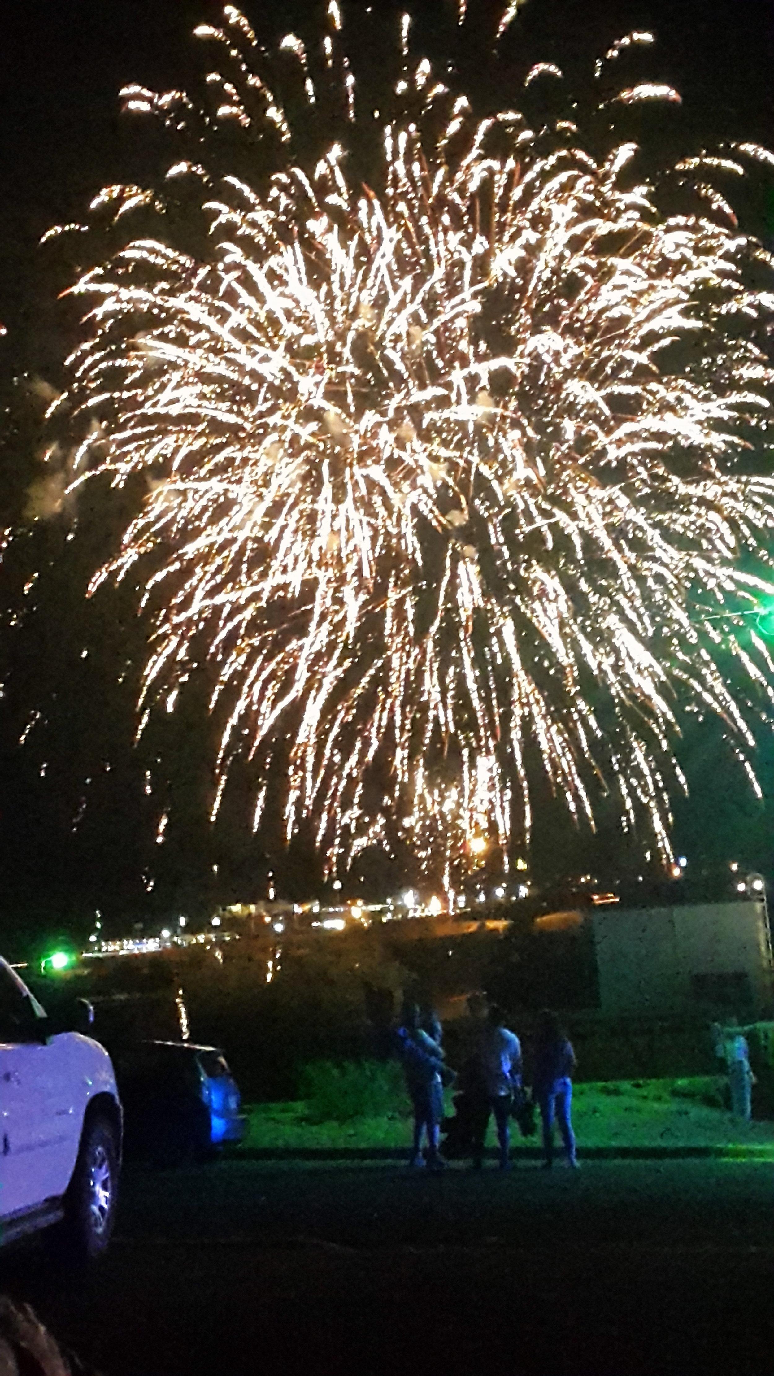 Happy Independence Day!!! We went to see the big fireworks on 4th of July in Santa Rosa at the lake. They are always amazing!  Happy Independence Day (Unabhängingkeitstag)!!! Wir sind zum See in Santa Rosa gefahren, um das grosse Feuerwerk am 4. Juli zu sehen. Das ist immer sehr beeindruckend!