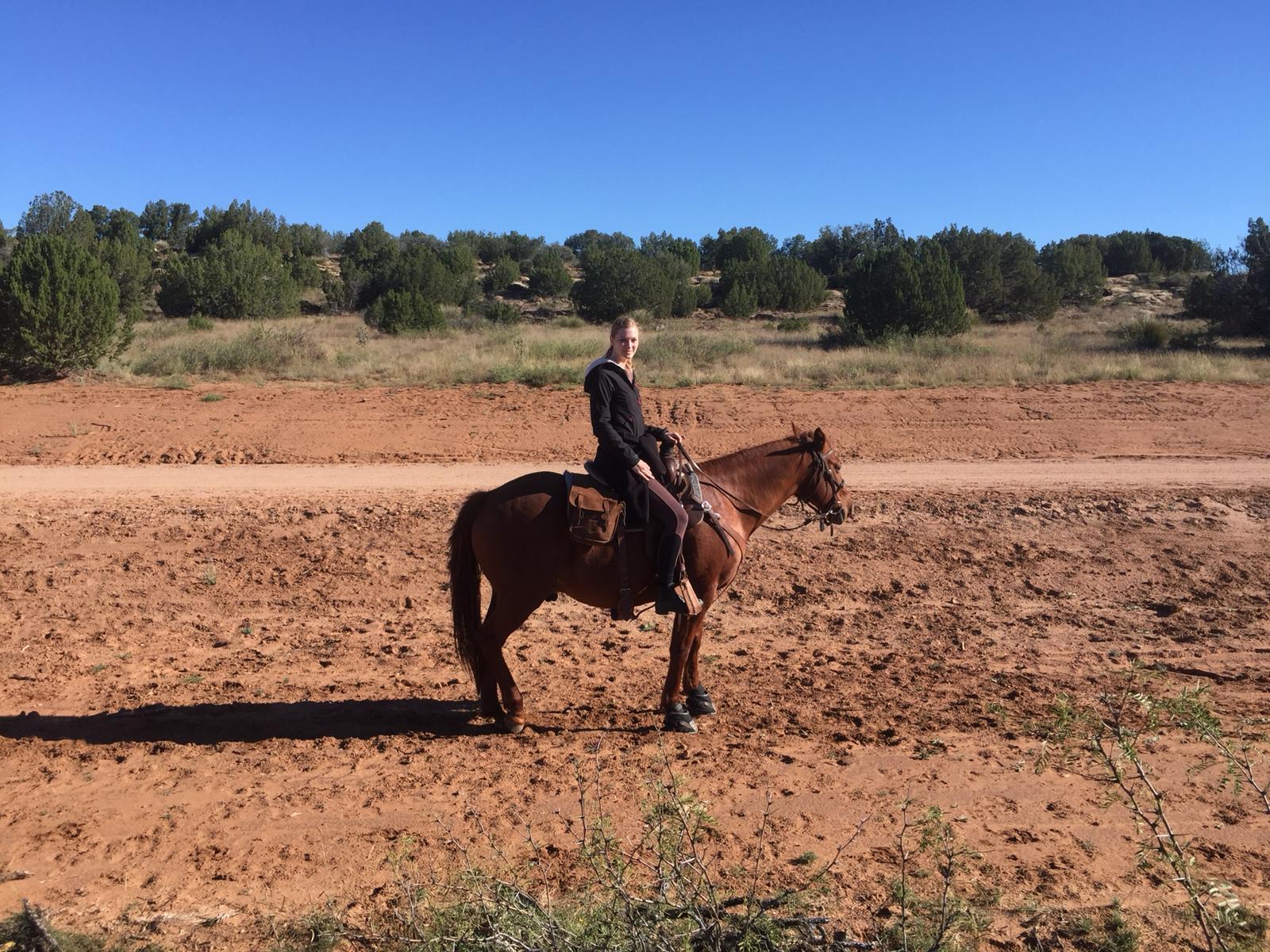 Julia (on Butch) with Argus Reisen (a German travelagency) came to visit us too, to get an idea about our ranch.  Julia (auf Butch) von Argus Reisen (deutsche Reiseagentur) hat uns besucht, um sich ein Bild von unserer Ranch zu machen.