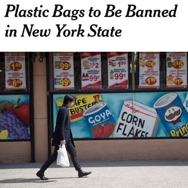 New York State is banning #plasticbags!✨ Celebrate for a minute, then get ready for more work. We don't know the details of exactly what's banned yet, but we know that each county has to pass legislation to opt-in to the 5-cent fee on paper bags. It's no mic drop.🎤cc: @brad.lander