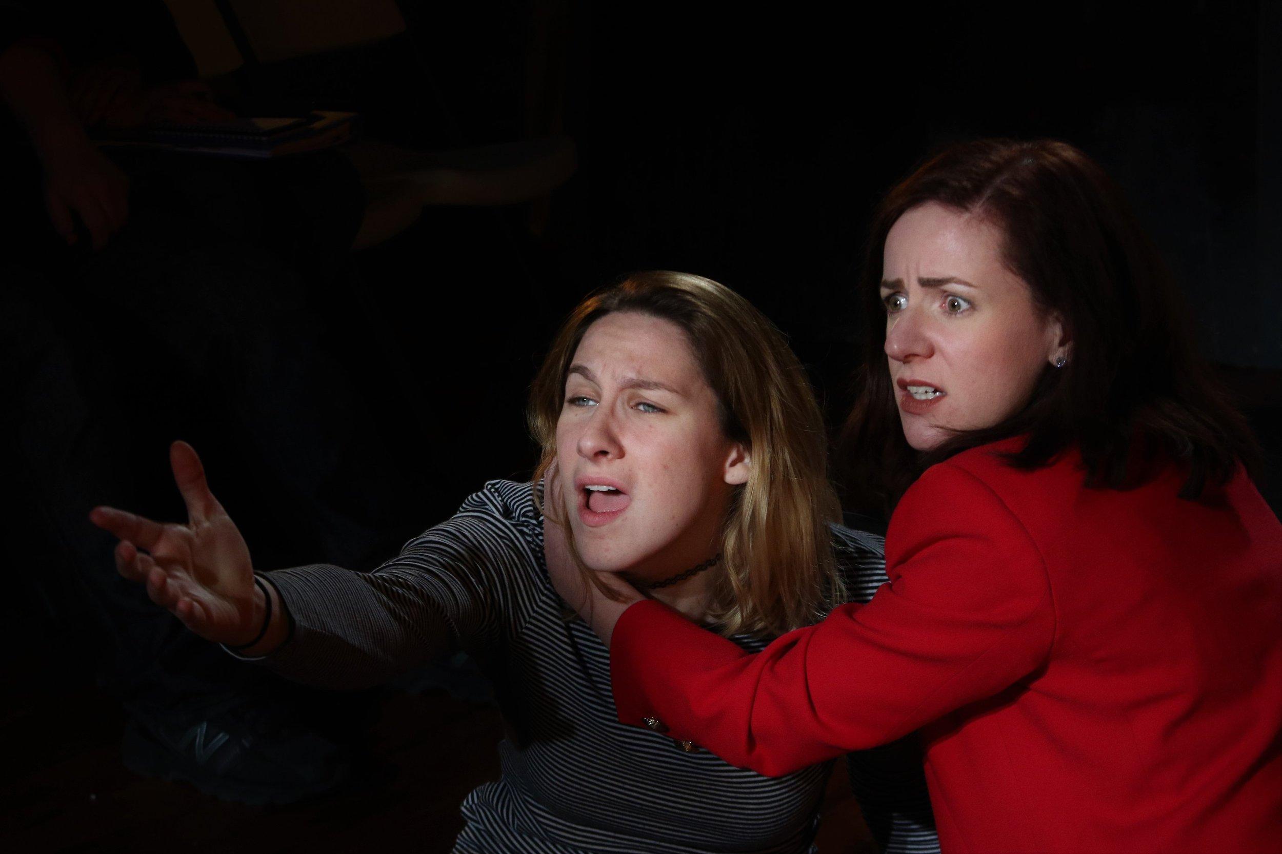 Caitlin Carbone as Hamlet, Katharine Vary as Gertrude