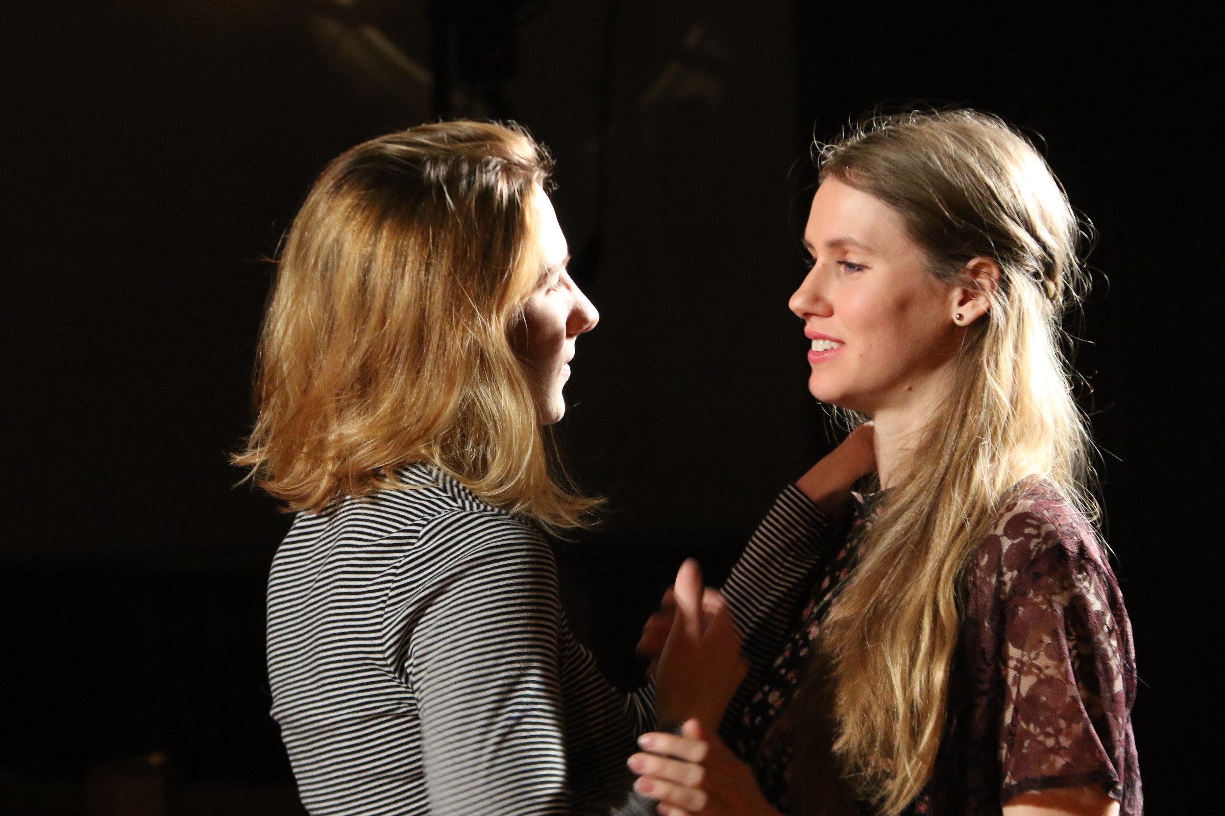Caitlin Carbone as Hamlet, Sarah Lamar as Ophelia