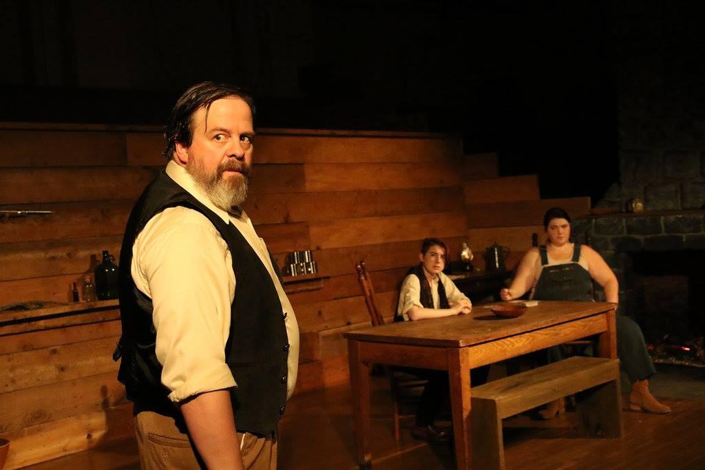 Thom Sinn as Valentine, Jane Jongeward as Johnse, Betse Lyons as Cap at Cohesion Theatre Company.