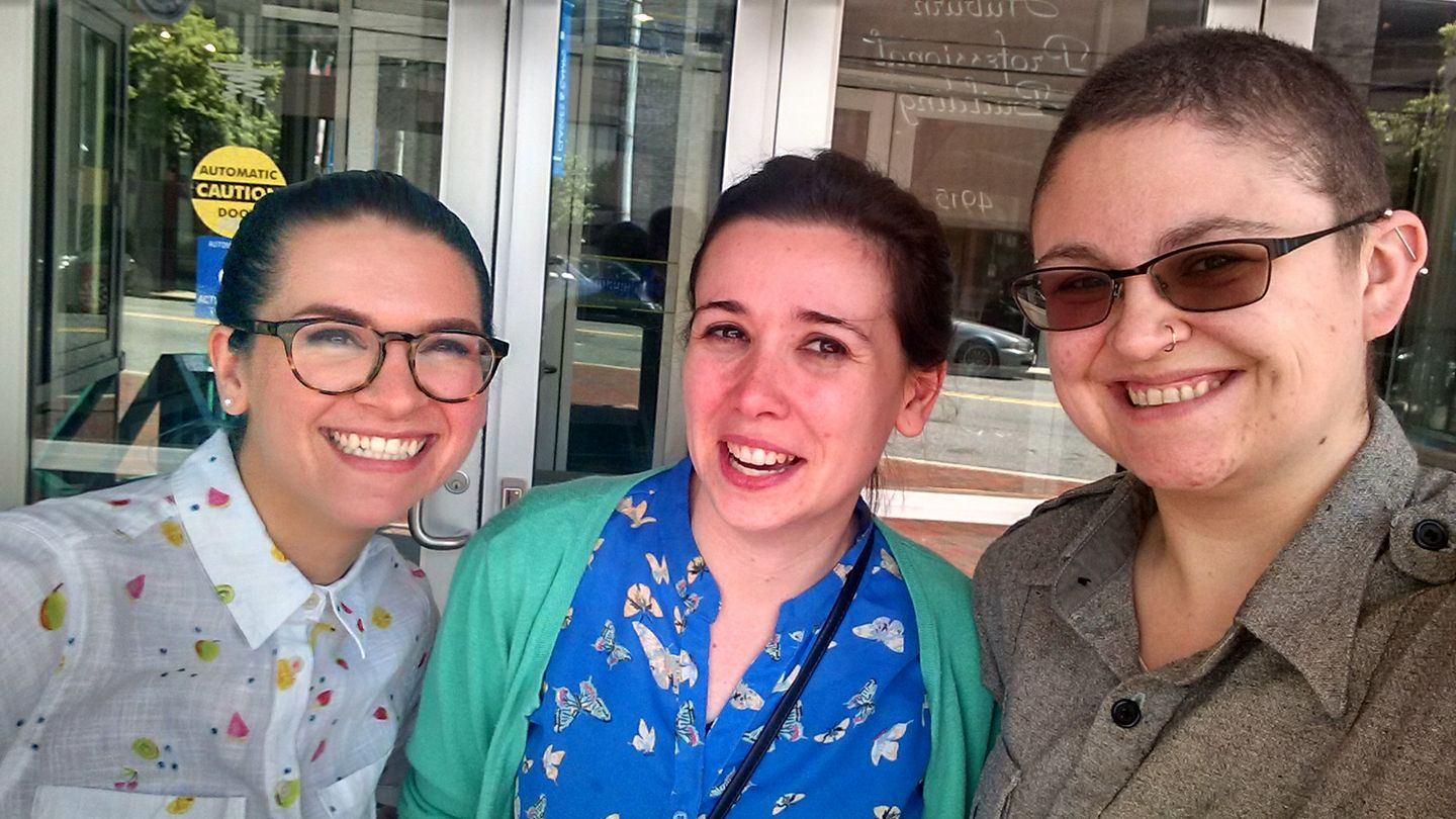 Lane with Sam Mauceri and Katie Keddell of Imagination Stage in Washington, D.C.
