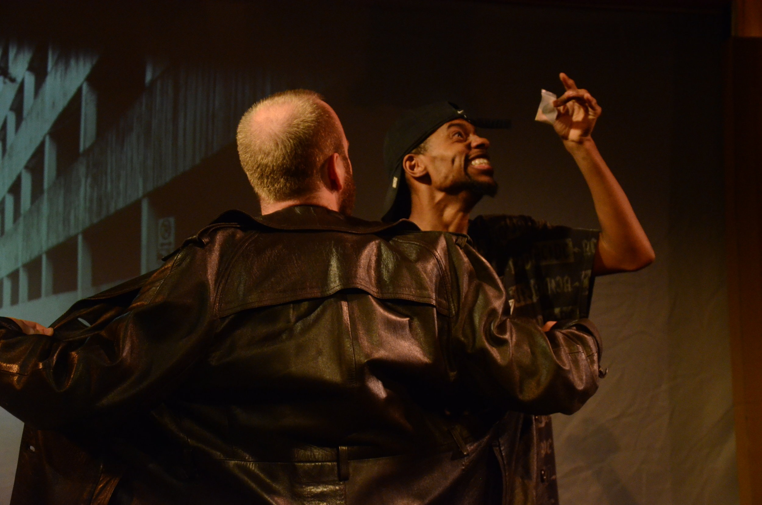 Ray Roberts as Dope Fiend and Sean Moran as Corner Boy at Trinity Street Players.