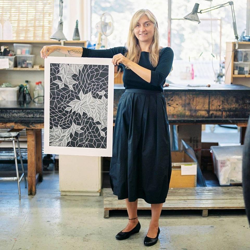 Anna Curtius in the printmaking studio