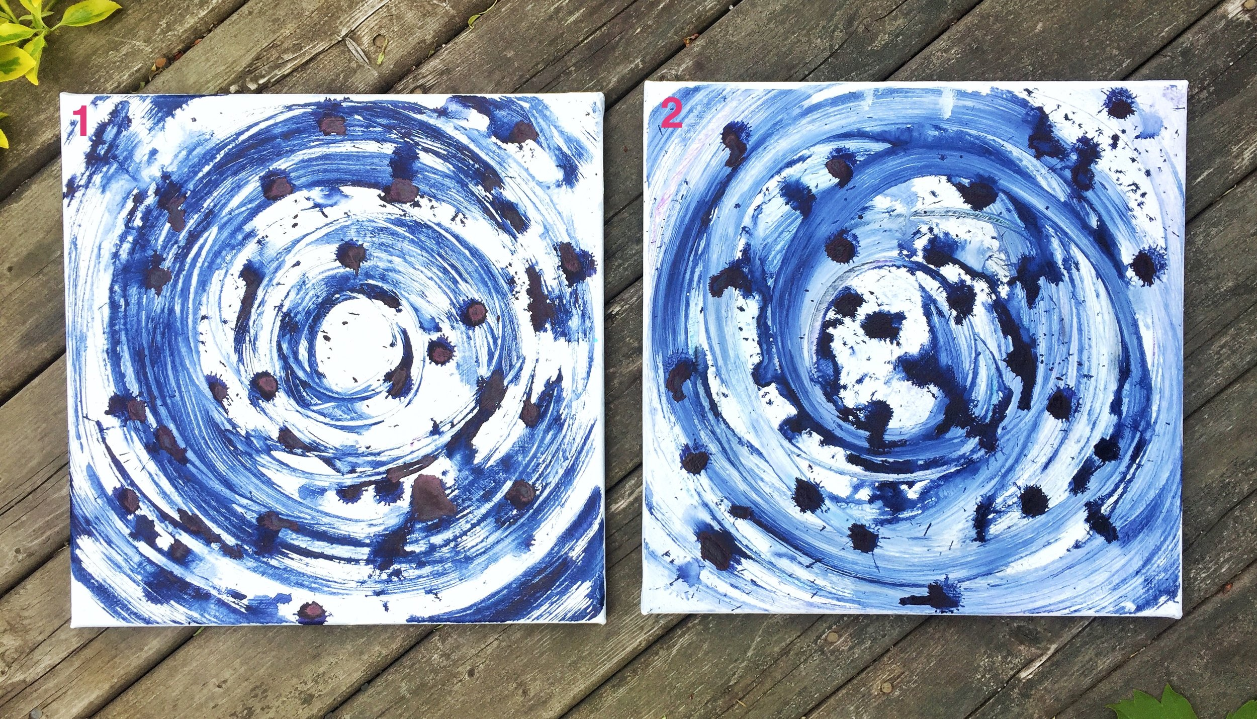 "Indigo 1 & 2  ($135 each, both $250) -  mixed media on canvas  - 12x12"""