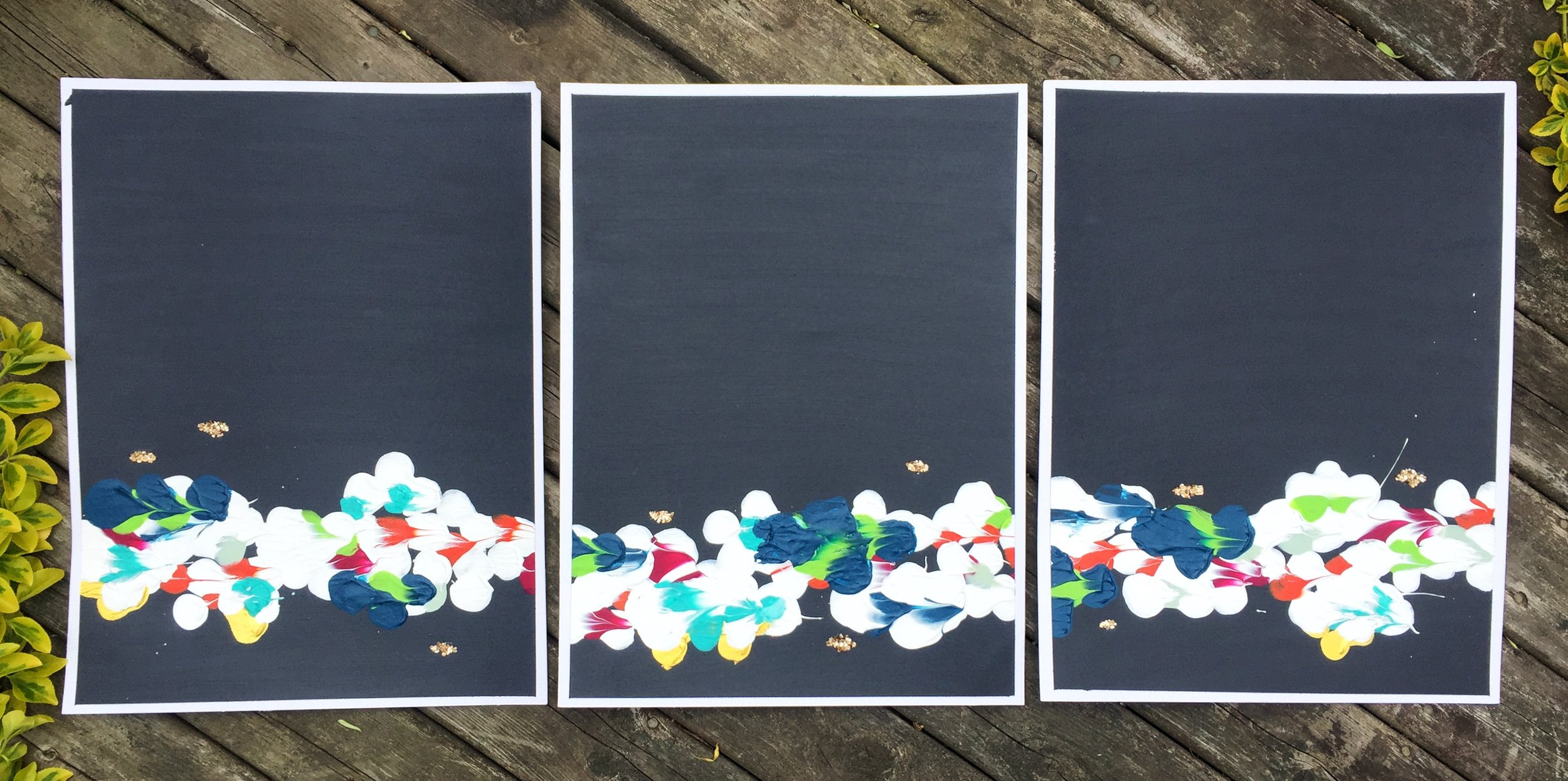 """Night ( $400 together, $149 each) - mixed media on paper - 11x15"""" each"""