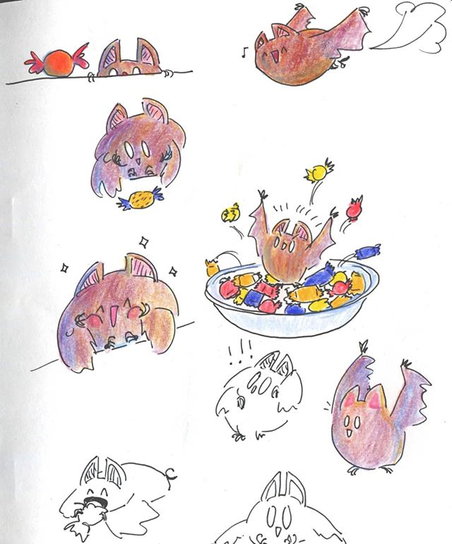 It's Frickin' BATS 🦇🍬 . #sketchbook #traditionalart #bats #cutebats #halloween #drawing #sketching #comics #cuteart #inktober I guess #prismacolor #polychromos #comicart #artistsoninstagram #instaart