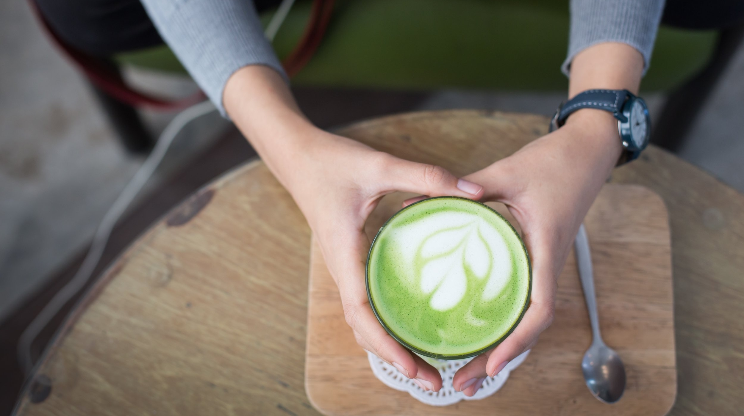 A distinctively green matcha latte