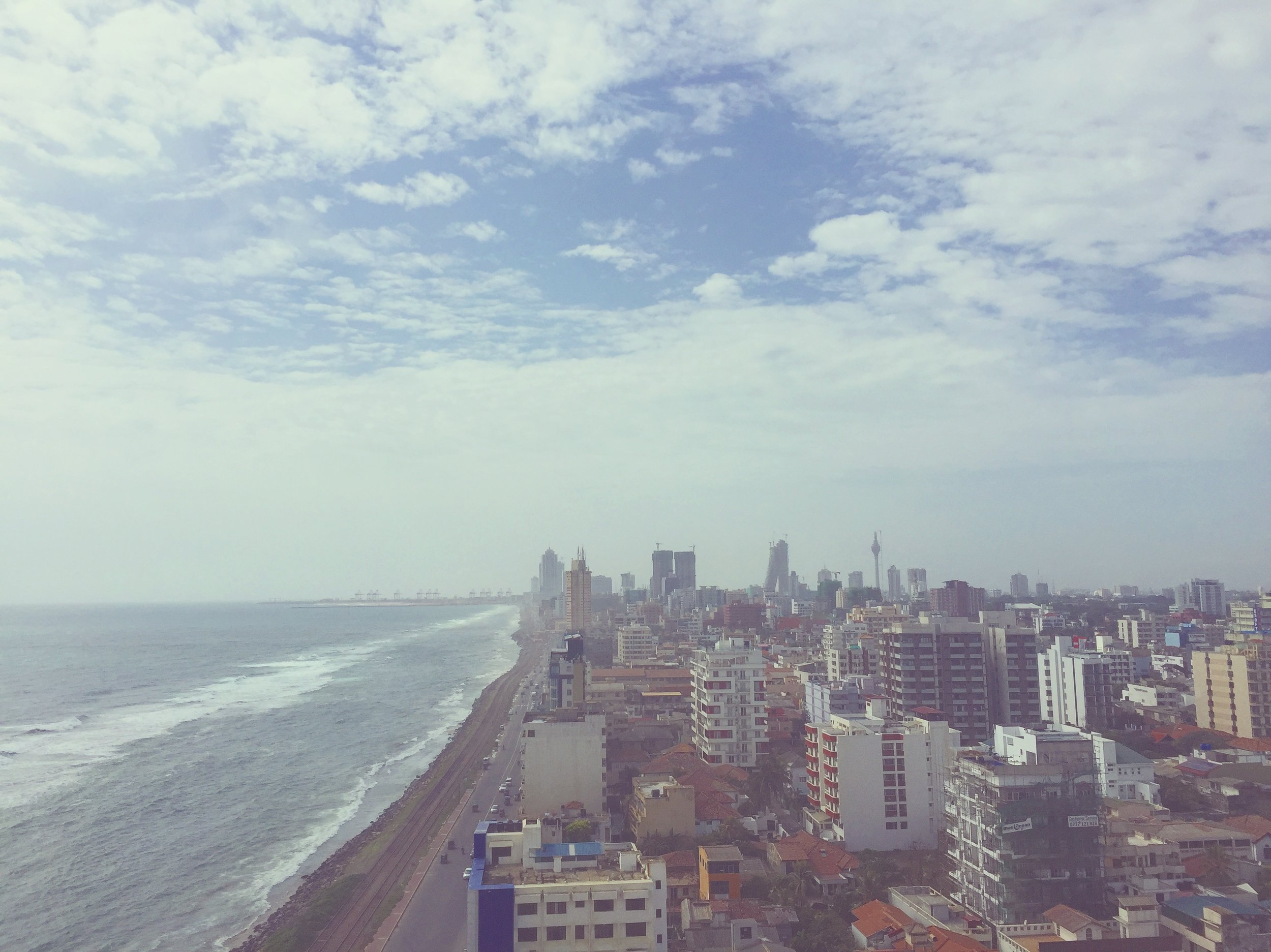 Colombo from above; the view from Ozo Hotel's rooftop pool and bar area (read more below).