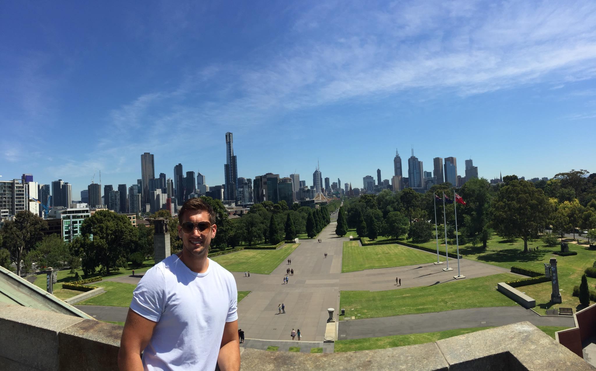 Matt at the Shrine of Remembrance, Melbourne Botanical Gardens