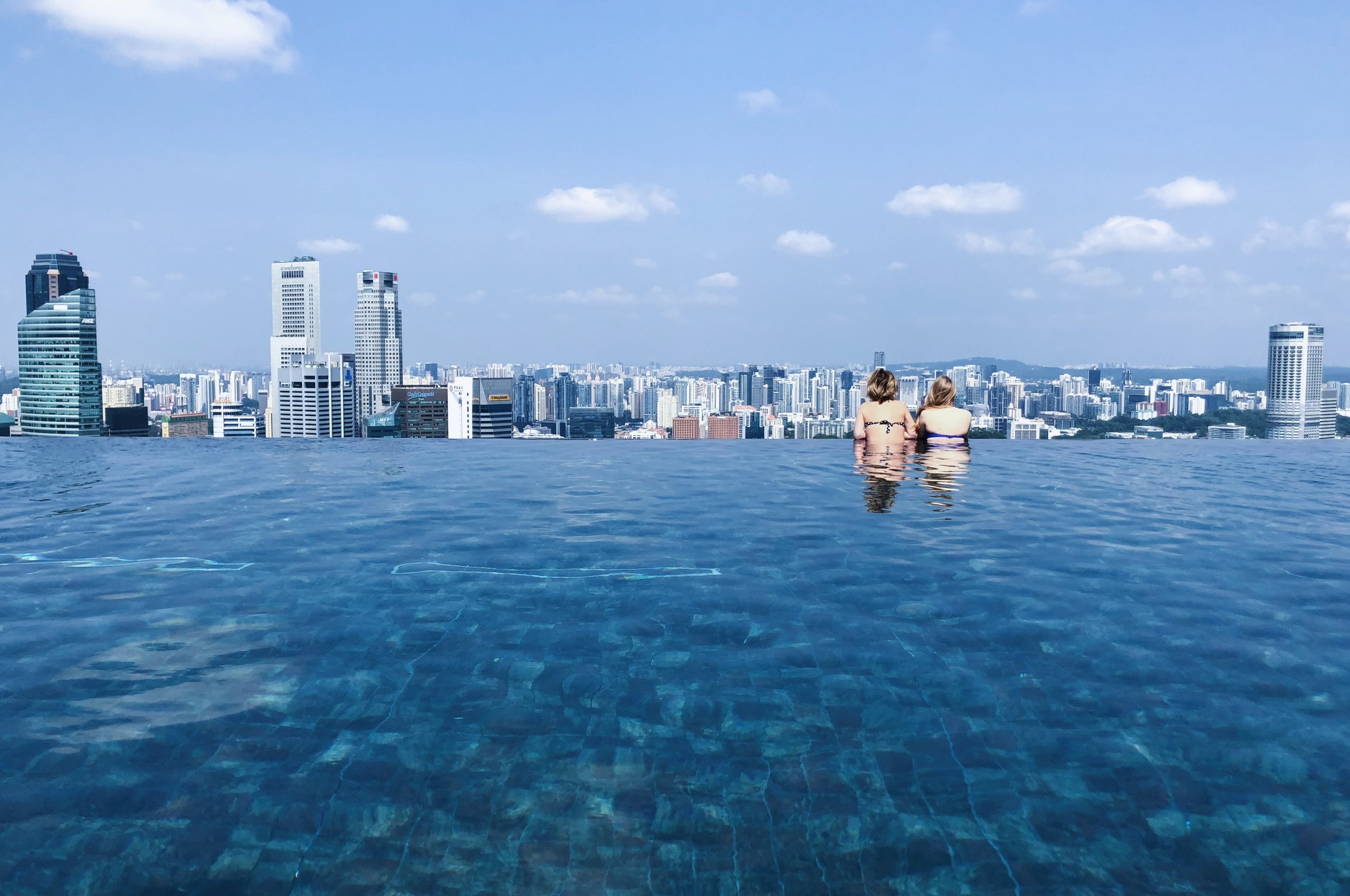 The swimming pool at Marina Bay Sands, Singapore.