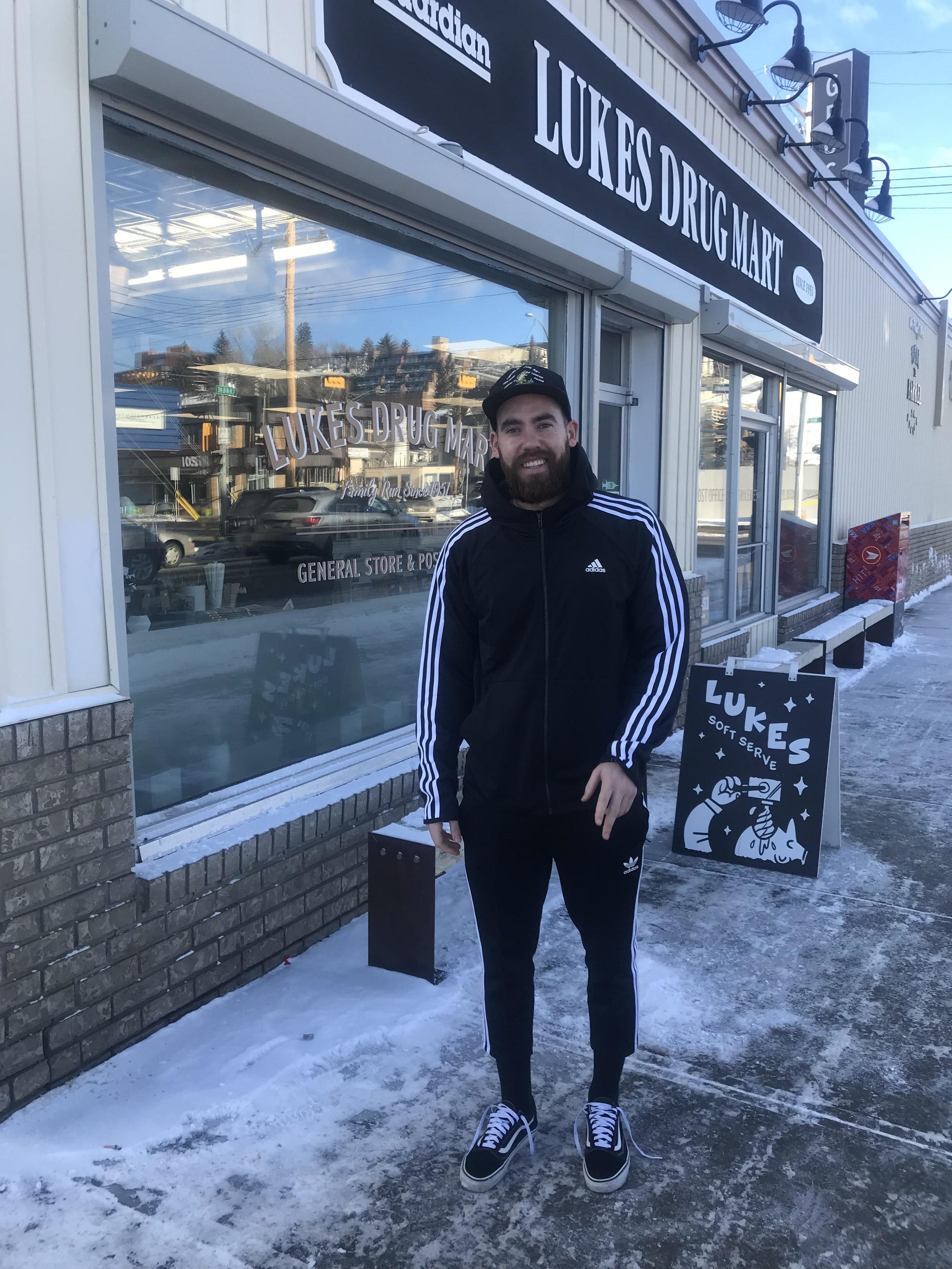 Simon in snowy downtown Calgary