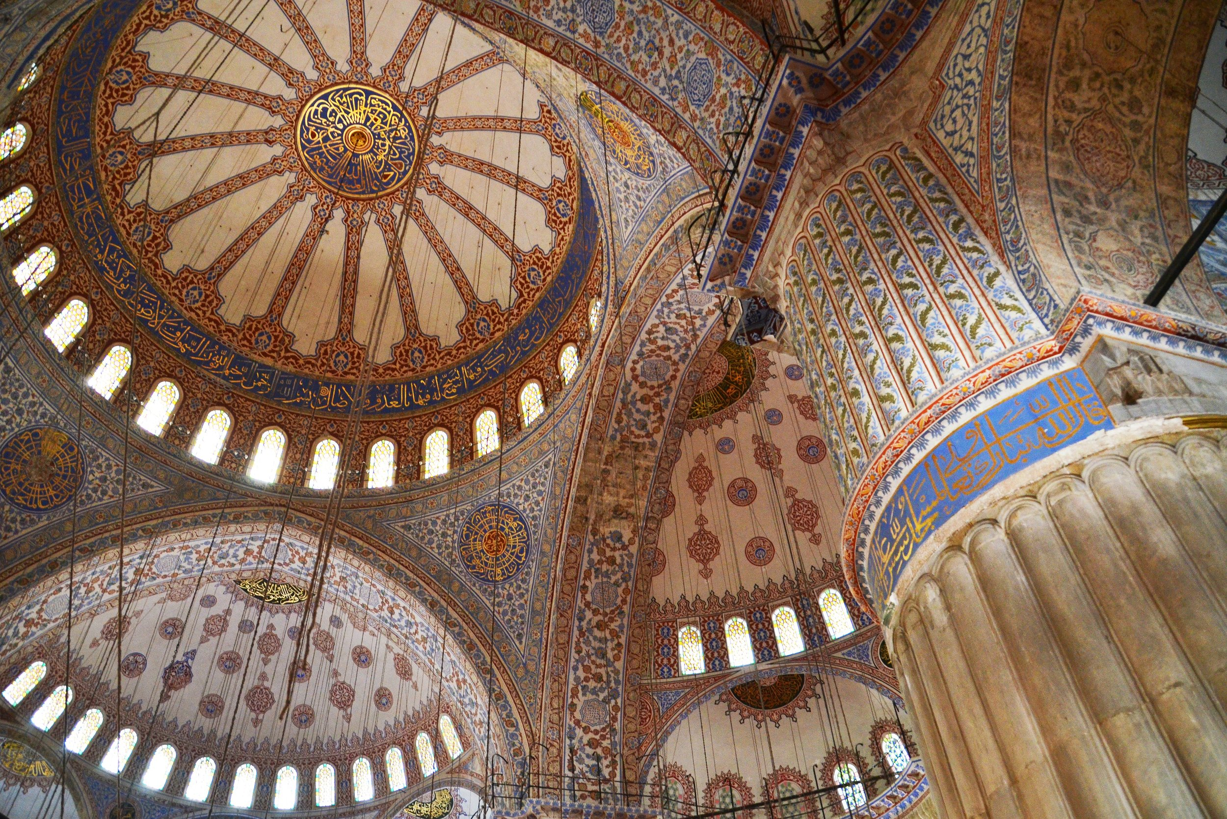 The interior of Sultan Ahmet Mosque - better known as the Blue Mosque