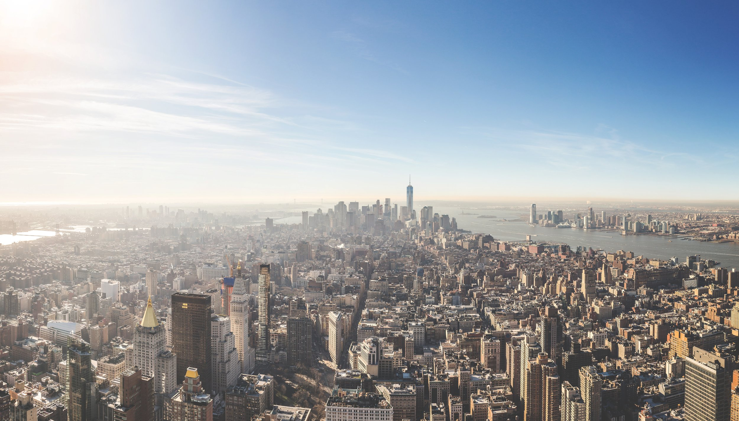 Manhattan view, uptown to downtown